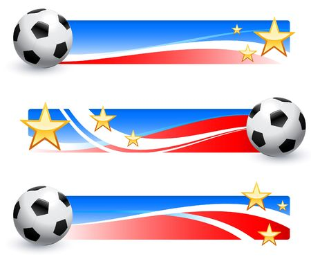 World Cup 2010 Soccer Ball with American Banner Collection Original Vector Illustration  illustration