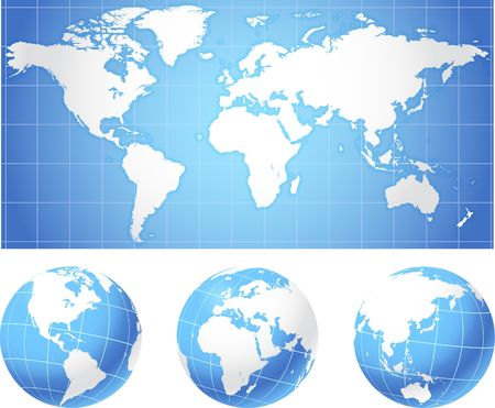 World map and globes Original Illustration Globes and Maps Ideal for Business Concepts