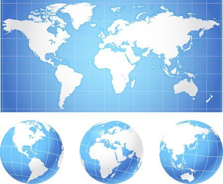 Kaart van de wereld en globes originele illustratie Globes en Maps ideaal voor Business concepten  Stockfoto