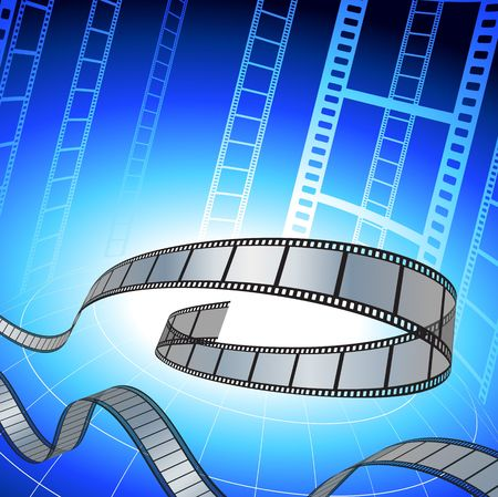 Original Illustration: Film strip on blue background File is AI8 compatible  illustration