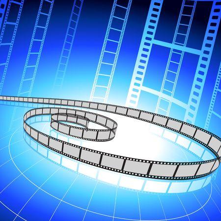 Origianl Illustration: Film strip on blue background File is AI8 compatible  Banco de Imagens