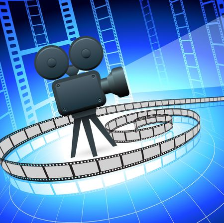 compatible: Original Illustration:Film camra and filmstrip on blue background File is AI8 compatible  Stock Photo