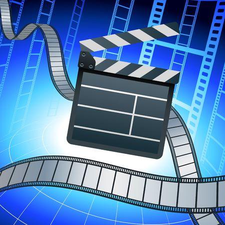 Origianl Illustration: Film strip and clapper board on blue background File is AI8 compatible  illustration