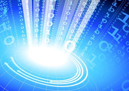 Original Illustration: binary code on blue internet background AI8 compatible illustration