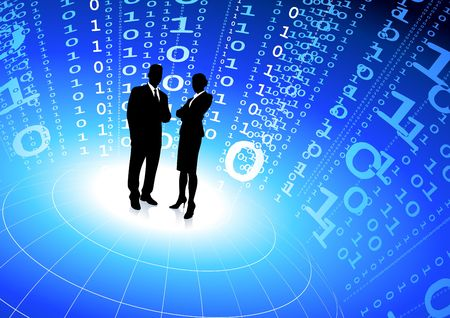 Original Illustration: business team with binary code internet background AI8 compatible illustration