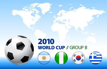 2010 World Cup Group B Original Vector Illustration 스톡 콘텐츠