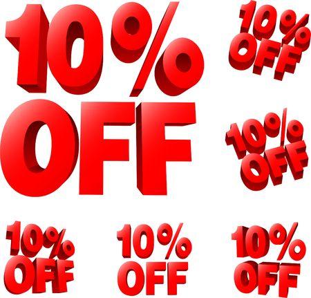 10% off Discount sale sign. 3D  illustration. AI8 compatible. Stock Illustration - 6588905