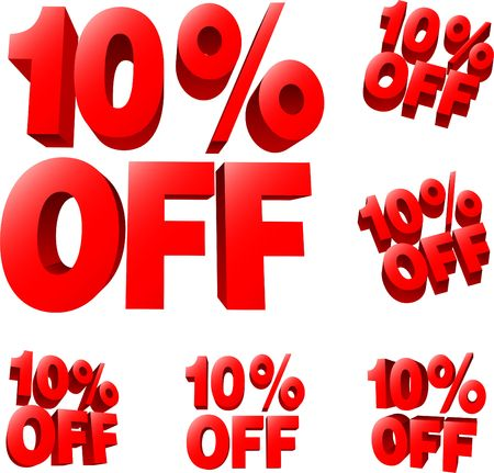 liquidation: 10% off Discount sale sign. 3D  illustration. AI8 compatible. Stock Photo