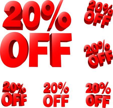 20% off Discount sale sign. 3D  illustration. AI8 compatible. illustration