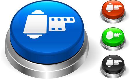 Film Reel Icon on Internet Button Original  Illustration Three Dimensional Buttons Stock Illustration - 6589627