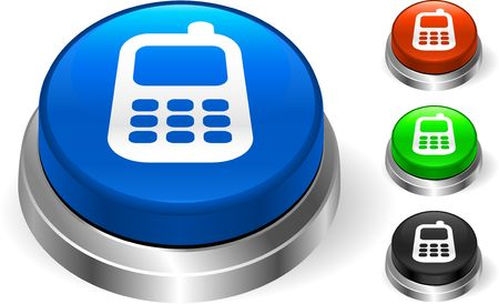 cellphone icon: Cell Phone Icon on Internet Button Original Illustration Three Dimensional Buttons Stock Photo