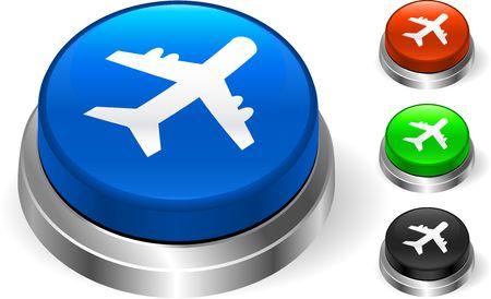 Airplane Icon on Internet Button Original  Illustration Three Dimensional Buttons Stock Illustration - 6589708
