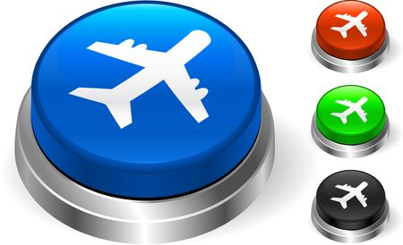 Airplane Icon on Internet Button Original  Illustration Three Dimensional Buttons
