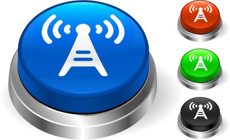 Radio Tower Icon on Internet Button Original Illustration Three Dimensional Buttons Stock Illustration - 6589764