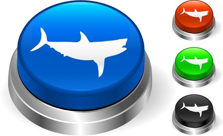 Shark icon on internet button Original Illustration Three Dimensional Buttons Stock Illustration - 6589630
