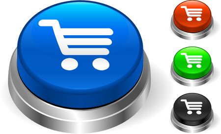 Cart Icon on Internet Button Original Illustration Three Dimensional Buttons