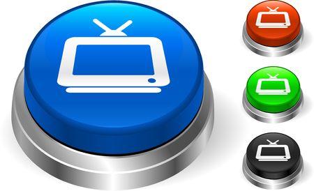Television Icon on Internet Button Original Illustration Three Dimensional Buttons Stock Illustration - 6589702