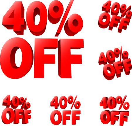 40: 40% off Discount sale sign. 3D  illustration. AI8 compatible.