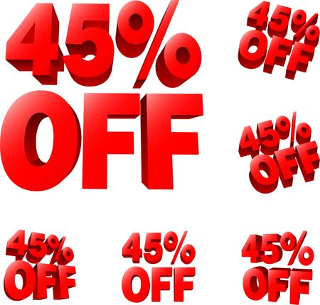 liquidation: 45% off Discount sale sign. 3D  illustration. AI8 compatible.