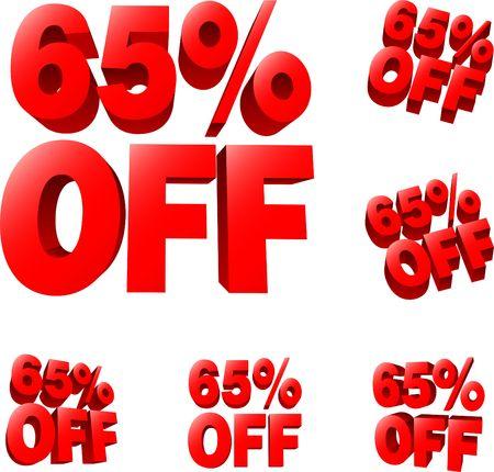 liquidation: 65% off Discount sale sign. 3D  illustration. AI8 compatible.