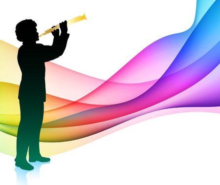 Flute Musician on Colorful Abstract Background Original  Illustration illustration