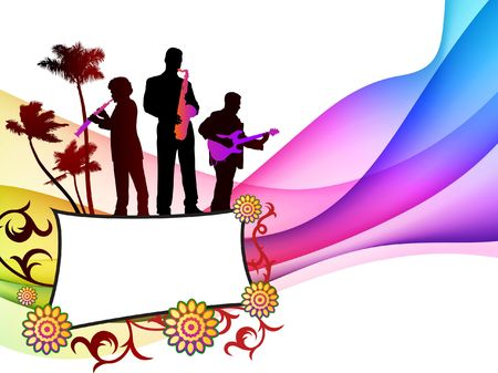 Live Band on Colorful Abstract Background Original  Illustration illustration