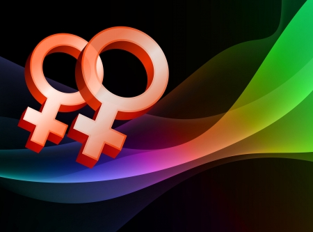 rainbow background: Lesbian Female Gender Symbols on Abstract Background Original  Illustration