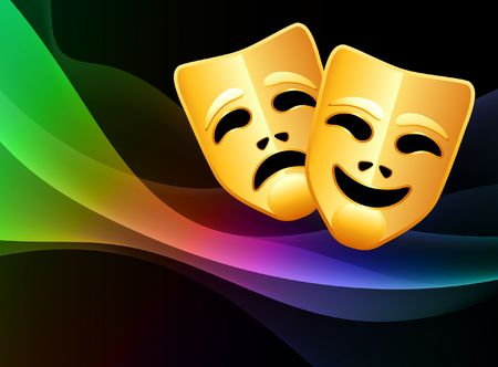 comedy: Comedy and Tragedy Mask on Abstract Background Original  Illustration