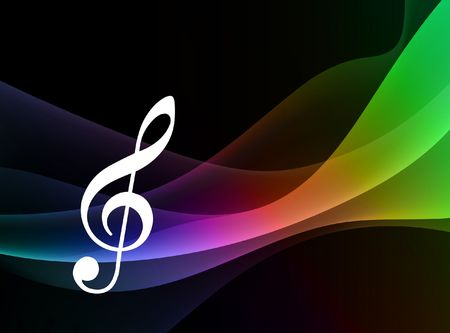 Musical Note on Abstract Spectrum Background Original Vector Illustration Stock fotó