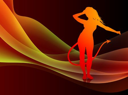 sexy devil: Devil on Abstract Background Original  Illustration Stock Photo