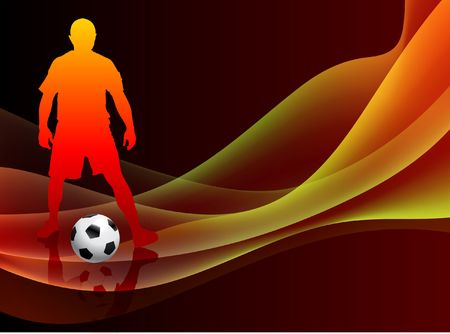 Soccer Player on Abstract Orange Background Original Illustration illustration
