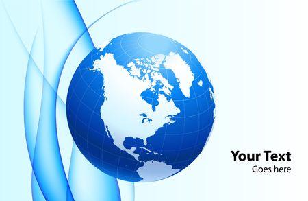 Globe on Abstract Blue Background Original  Illustration Stock Illustration - 6589499