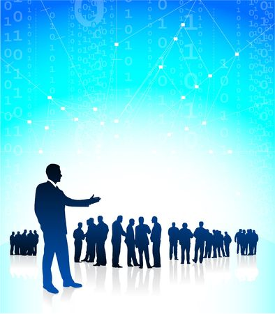 Original  Illustration: Business man CEO presenting his global financial team AI8 compatible illustration