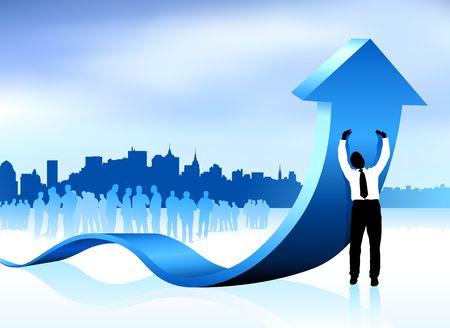 Original  Illustration: Businessman holding up arrow with new york city skyline background AI8 compatible Stock Illustration - 6589915