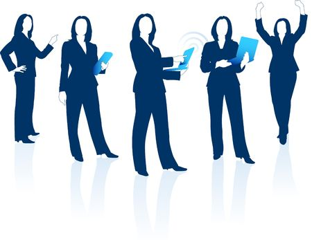 business woman: Original  Illustration: Young business woman silhouettes AI8 compatible  Stock Photo