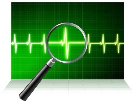 Original  Illustration: Simple cardiogram under magnifying glass AI8 compatible