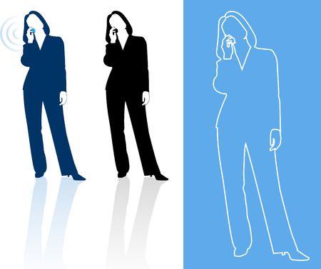 palmtop: Original  Illustration: Young business woman silhouettes AI8 compatible  Stock Photo