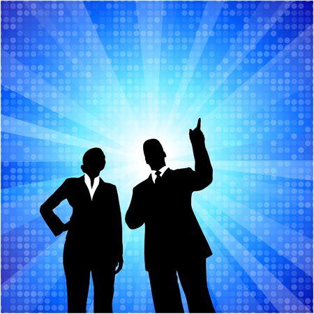 Original  Illustration: businessman and businesswoman on blue internet background AI8 compatible