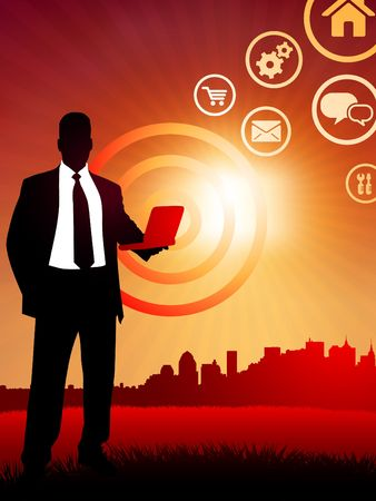 Original  Illustration: businessman holding computer laptop on sunset background with skyline AI8 compatible Stock Illustration - 6588914