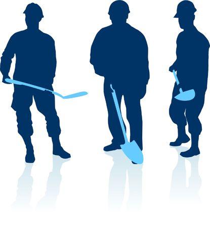 construction: Original  Illustration: construction workers silhouette AI8 compatible