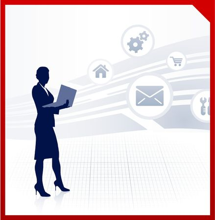 accessing: Original Illustration: businesswoman working accessing internet on laptop AI8 compatible