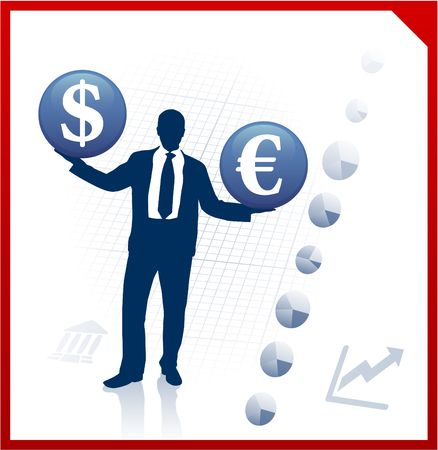 picking up: Original  Illustration: Young business man silhouettes with currency symbols AI8 compatible Stock Photo