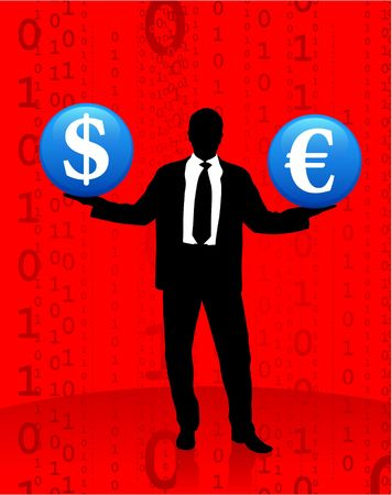 Original  Illustration: Young business man with currency symbols AI8 compatible illustration