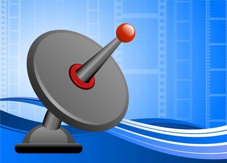 Original  Illustration: Satellite dish on film reel background AI8 compatible illustration