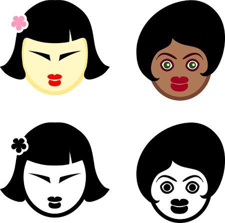 Female Heads Original Illustration Sets of faces