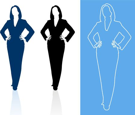 palmtop: Original  Illustration: Young business woman silhouettes AI8 compatible  Stock Photo