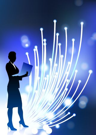 Original  Illustration: businesswoman holding computer laptop with fiber optic internet background AI8 compatible Фото со стока