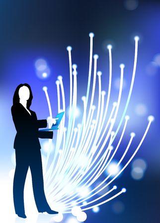 Original Illustration: businesswoman communication fiber optic cable internet background  illustration