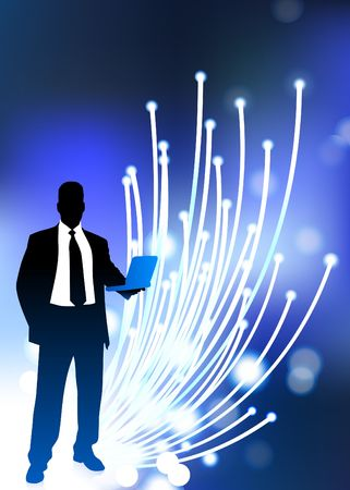 Original  Illustration: Business communication fiber Optic cable internet background
