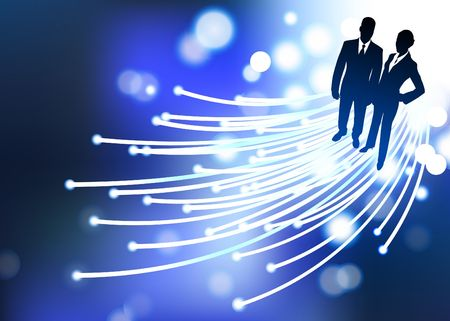Original  Illustration: businessman and businesswoman fiber optic internet background  illustration
